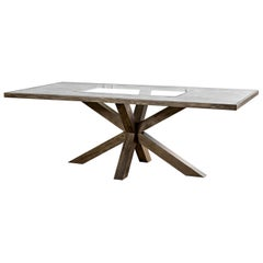 Large Modern Oak and Glass Top Dining Table
