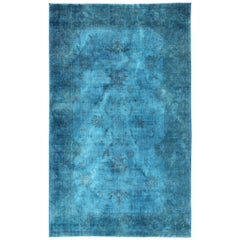 Large Modern Oushak Turkish Rug Over-Dyed in Blue Shades