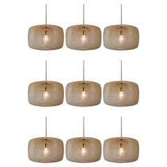 Large Modern Pendants in Amber Hand Blown Colored Glass and Brass, Europe, 1970s