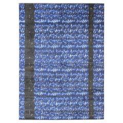 Large Modern Scandinavian/Swedish Design Pile Rug in Mid-Night Blue