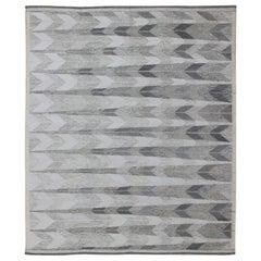 Large Modern Scandinavian/Swedish Flat-Weave Geometric Design Rug