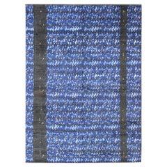 Large Modern Scandinavian/Swedish Pile Rug in Mid-Night Blue and Modern Design