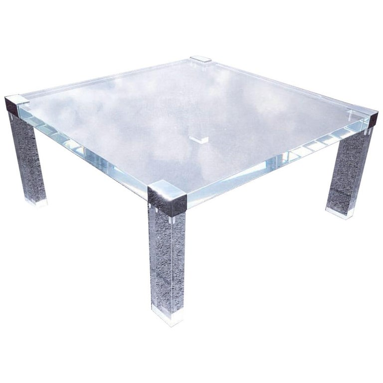 Large Modern Square Thick Lucite And Chrome Cocktail Table