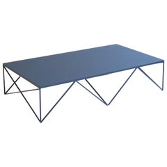 Large Modern Steel Coffee Table with Deep Blue Natural Linoleum Top Customizable
