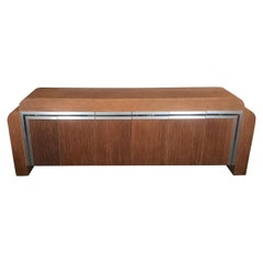 Large Modern Style Brushed Aluminum and Twine Credenza Console