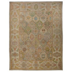 Large Modern Turkish Oushak Rug with Rows of Colored Medallions on Center Field