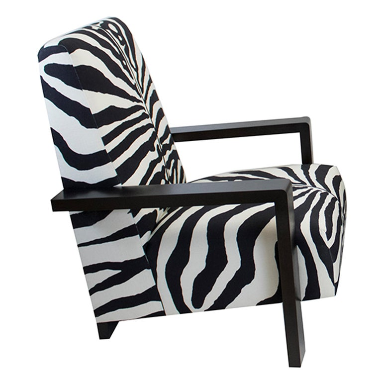 Streamlined Moderne Large Modern Zebra Lounge Chair For Sale