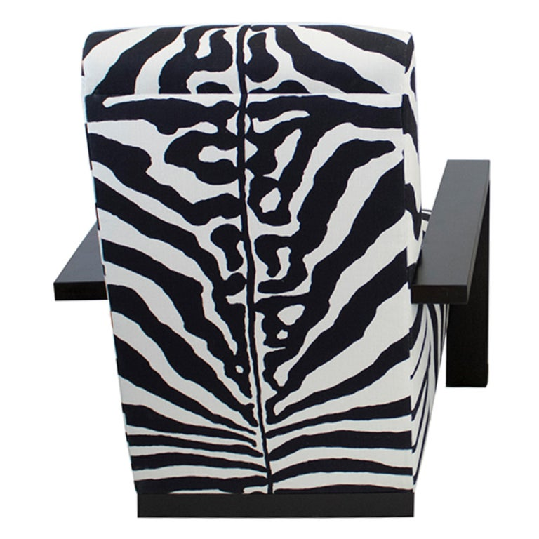 American Large Modern Zebra Lounge Chair For Sale