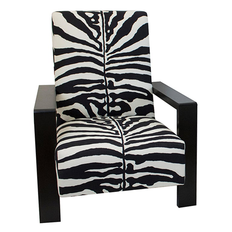 Large Modern Zebra Lounge Chair For Sale