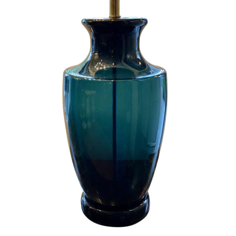 A large circa 1960s Italian blown glass deep blue table lamp.  Measurements: Height of body 20.5? Diameter 9.25?