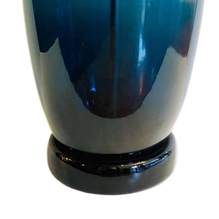Large Moderne Blue Murano Glass Lamp For Sale 1