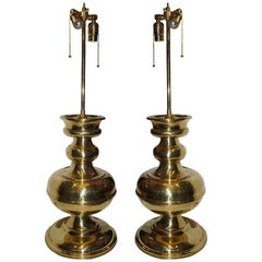 Large Moderne French Polished Brass Lamps