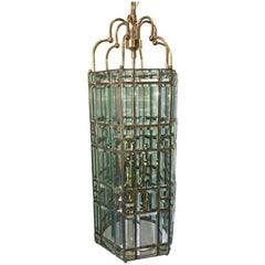 Large Moderne Italian Glass Lantern