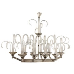Large Moderne Murano Glass Ten-Light Chandelier