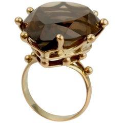 Large Modernist 14 Karat Gold and Smoky Quartz Cocktail Ring