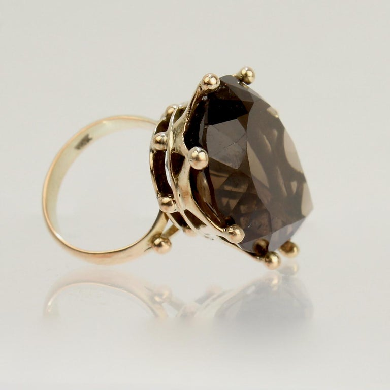 Pear Cut Large Modernist 14 Karat Gold and Smoky Quartz Cocktail Ring For Sale