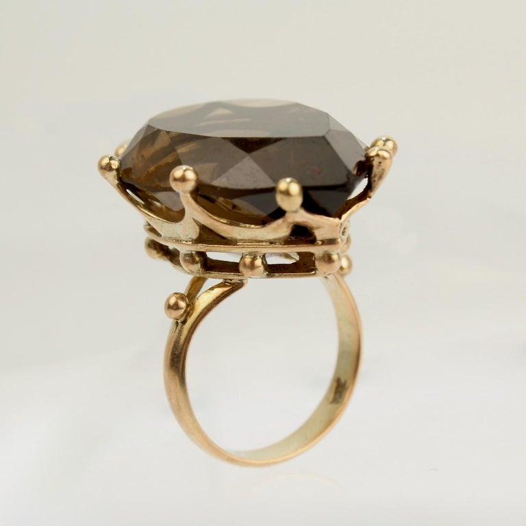 Women's Large Modernist 14 Karat Gold and Smoky Quartz Cocktail Ring For Sale