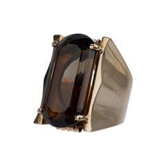 Large Modernist 18 Karat Smoky Topaz Signet Type Cocktail Ring