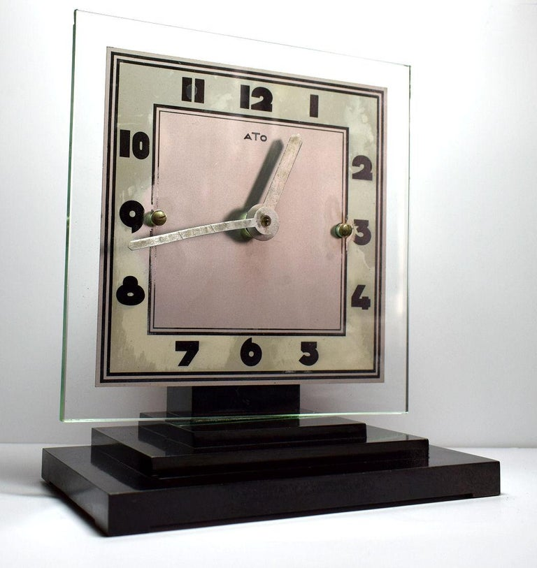 French Large Modernist 1930s Art Deco Bakelite and Glass ATO Clock For Sale