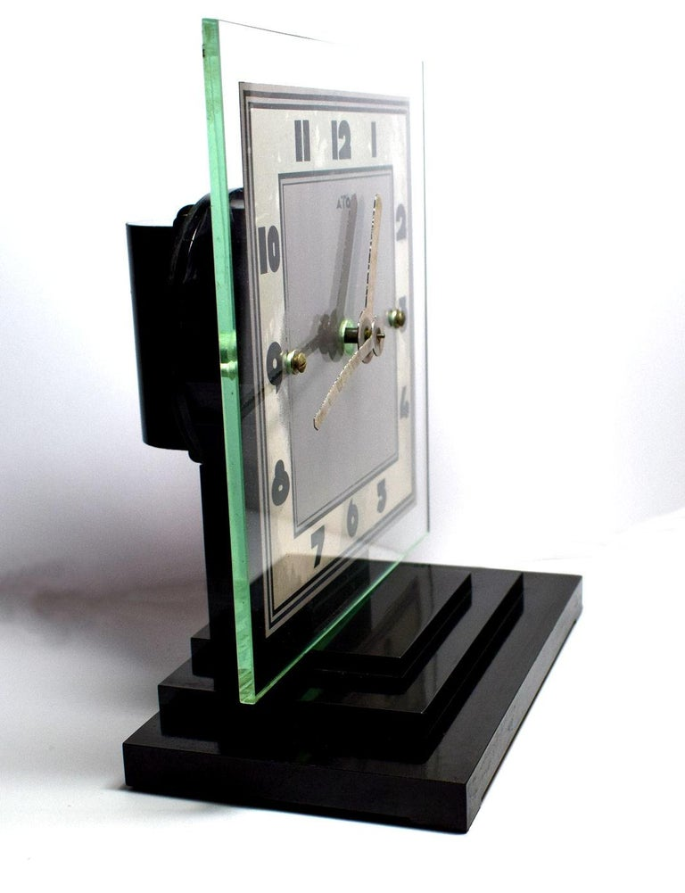 20th Century Large Modernist 1930s Art Deco Bakelite and Glass ATO Clock For Sale