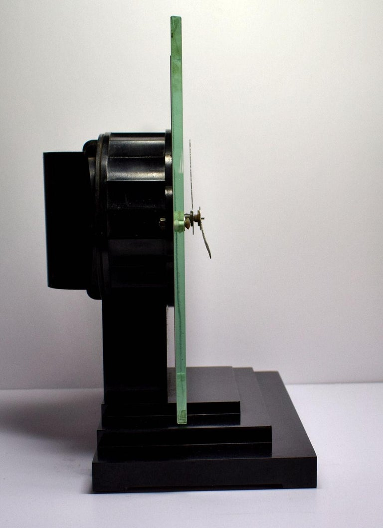Large Modernist 1930s Art Deco Bakelite and Glass ATO Clock For Sale 1