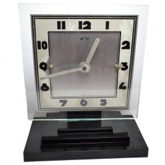 Large Modernist 1930s Art Deco Bakelite and Glass ATO Clock