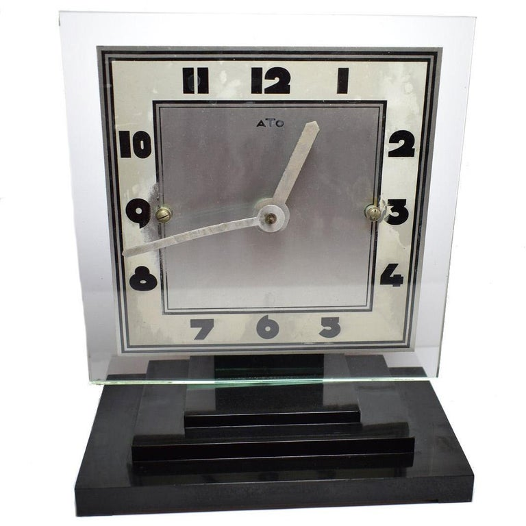 Large Modernist 1930s Art Deco Bakelite and Glass ATO Clock For Sale