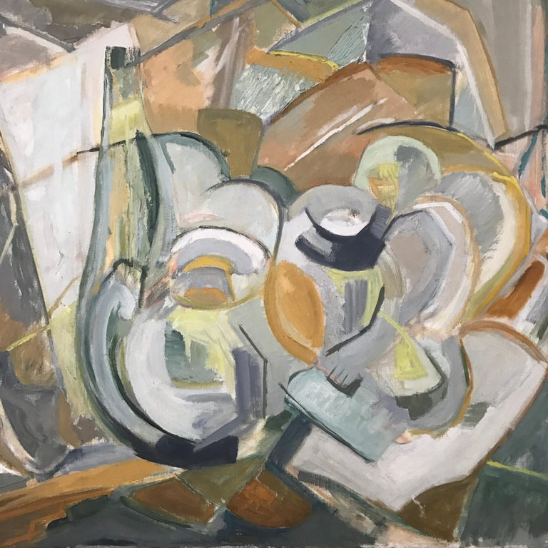 Large Modernist Abstract Expressionist Oil Painting Still Life For Sale 6