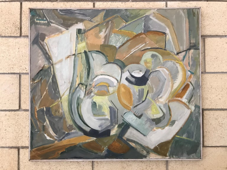 Large Modernist Abstract Expressionist Oil Painting Still Life For Sale 7