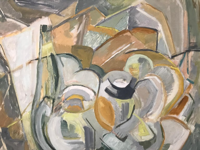 Large modernist Abstract Expressionist still life painting, circa 1950s. Beautiful colors and execution. Artist unknown. Wear to the original artist-made frame. Measures: 36