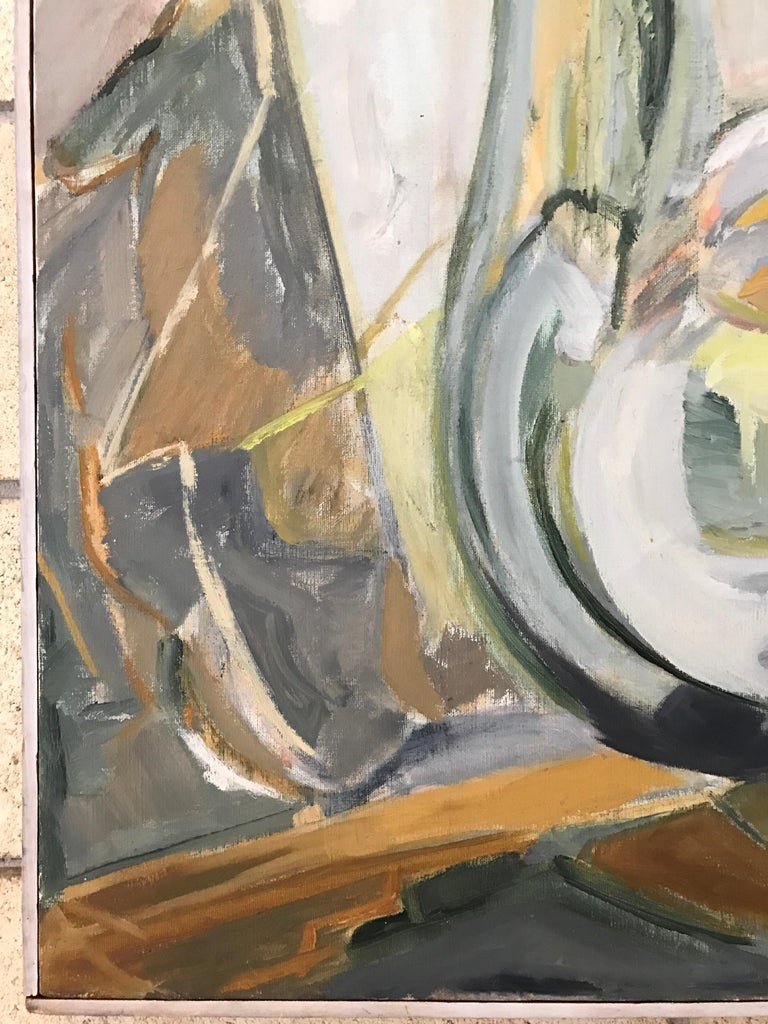 American Large Modernist Abstract Expressionist Oil Painting Still Life For Sale