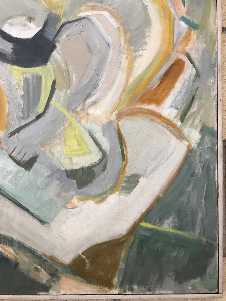 Large Modernist Abstract Expressionist Oil Painting Still Life In Good Condition For Sale In St.Petersburg, FL