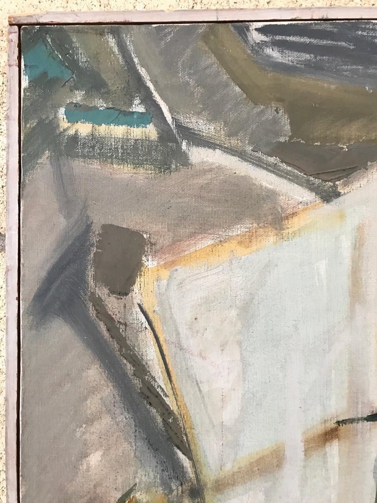 Canvas Large Modernist Abstract Expressionist Oil Painting Still Life For Sale