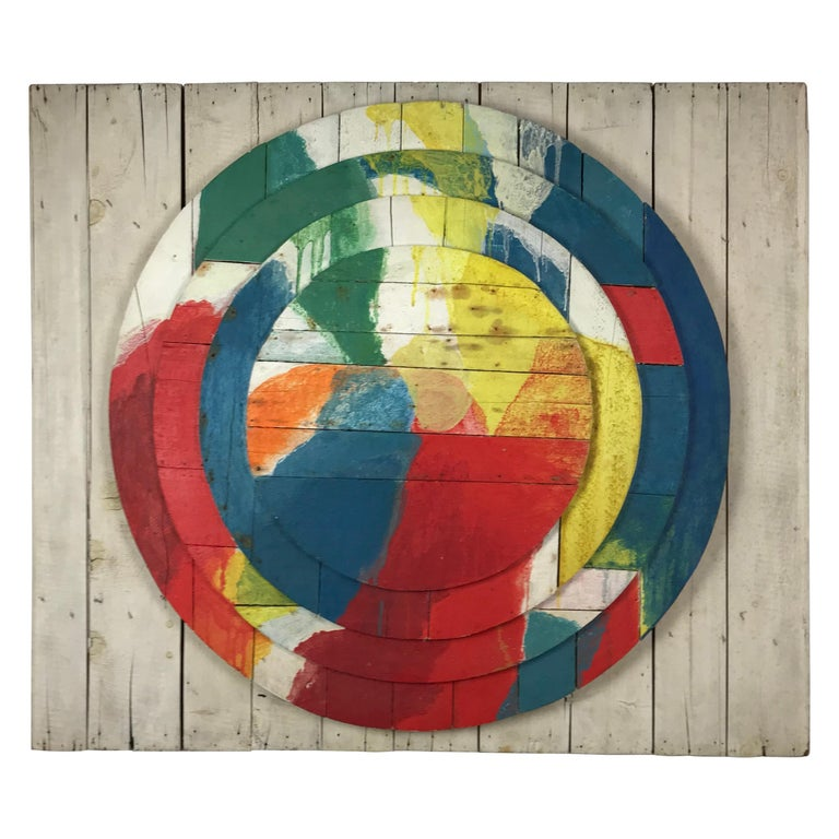"Large Modernist Abstract Relief ""Sun ll"", Jef Diederen, 1965, Acrylic on Wood For Sale"