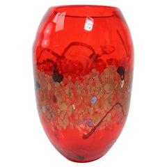 Large Modernist Art Glass Vase by Cristalleria d'arte Made in Murano