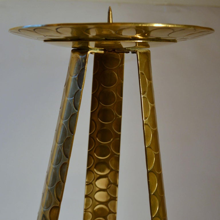 Mid-Century Modern Large Modernist Brass Floor Candle Holder, 1950's For Sale