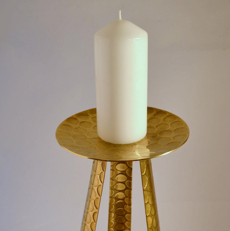 Large Modernist Brass Floor Candle Holder, 1950's In Excellent Condition For Sale In London, GB