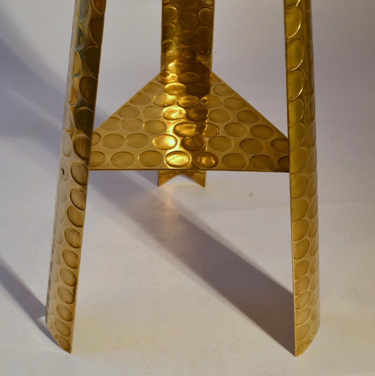 Mid-20th Century Large Modernist Brass Floor Candle Holder, 1950's For Sale