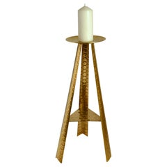 Large Modernist Brass Floor Candle Holder, 1950's