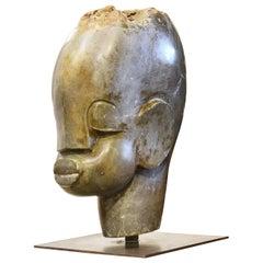 Large Modernist Carved Serpentine Stone African Shona Head on Iron Base Zimbabwe