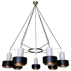 Large Modernist Chandeliers with White Glass, Black and Copper Shades, 1960s