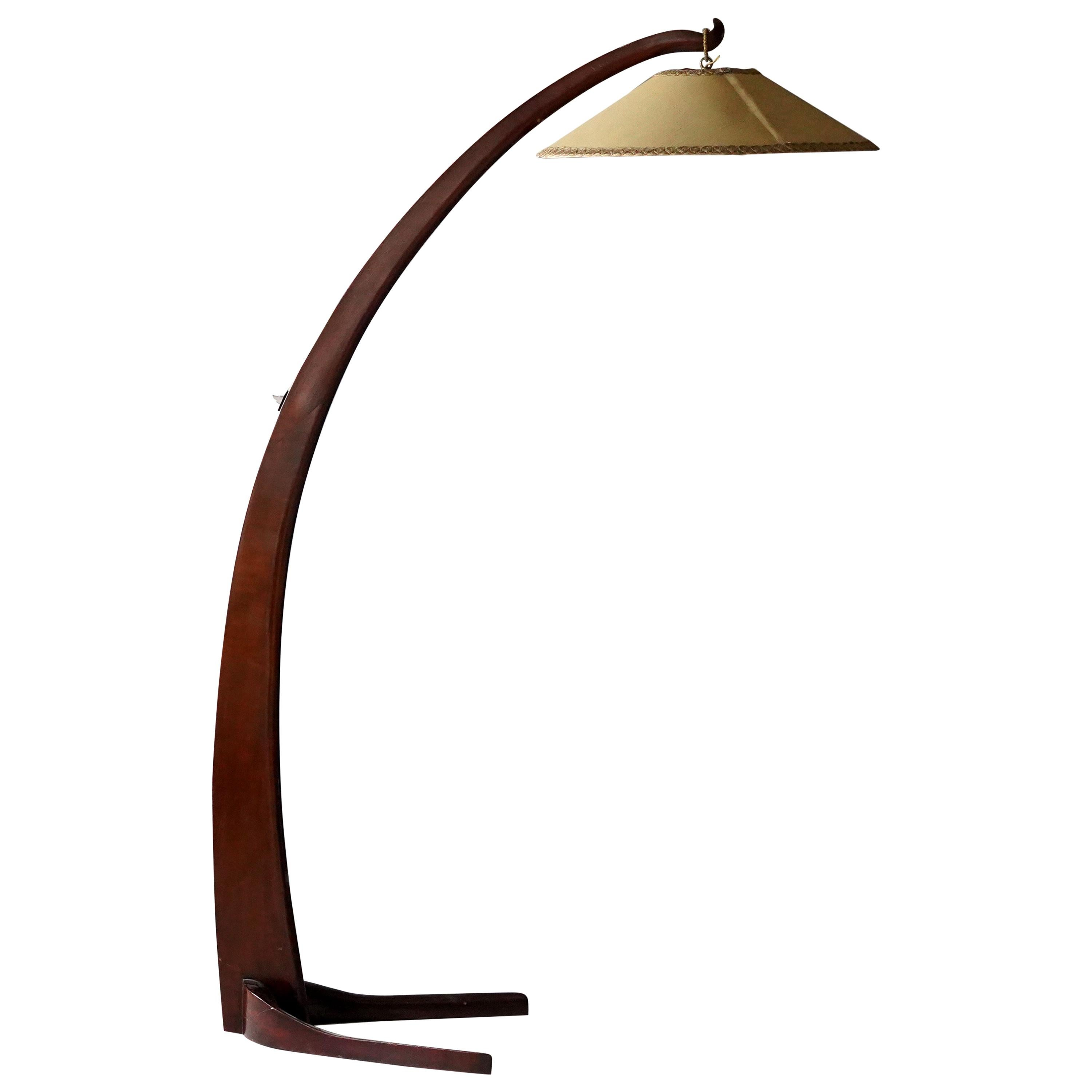Large Modernist Curved Floor Lamp, Walnut, Brass, Fabric, Italy, 1940s
