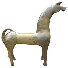 Large Modernist Etruscan Brass Horse Sculpture