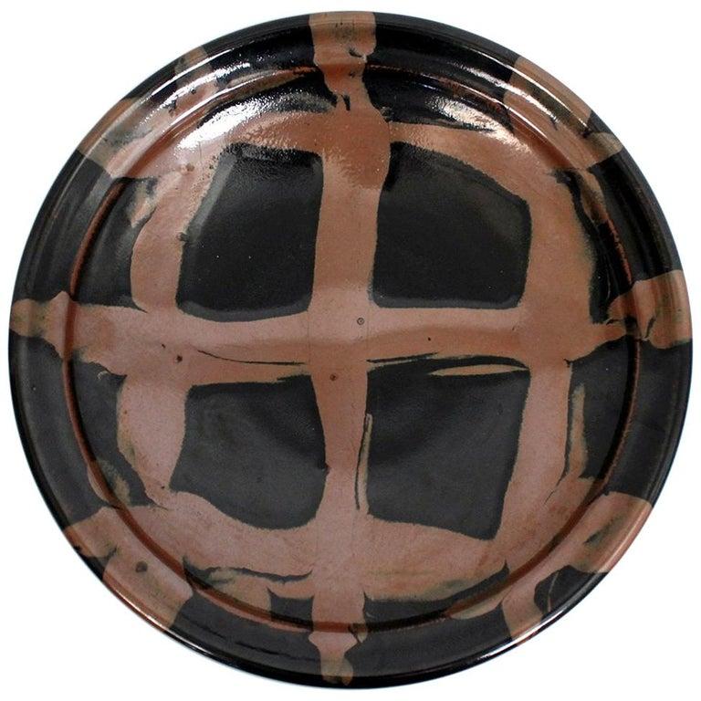 Large Modernist Japanese Ceramic Charger For Sale