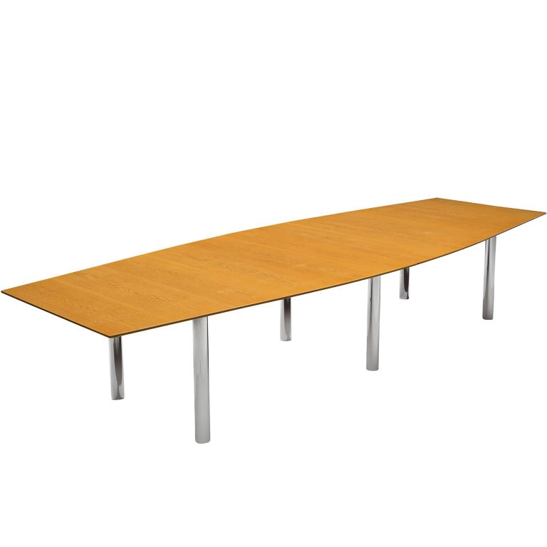 Large Modernist Knoll Table in with Steel Legs