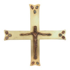 Large Modernist Midcentury Brass Crucifix with Gemstones