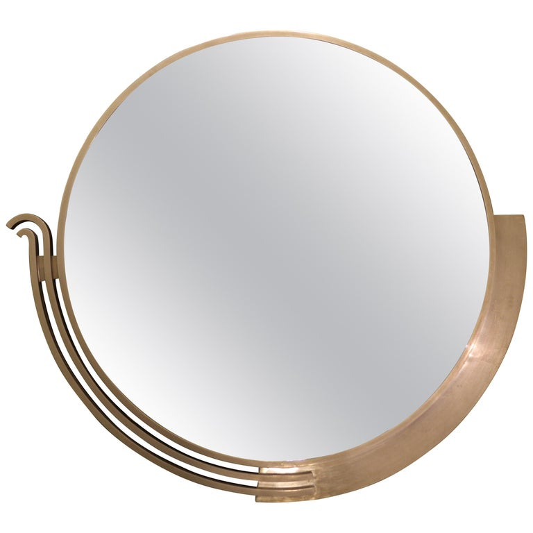 Large Modernist Mirror by Edgar Brandt, Signed, France, Art Deco, circa 1930 For Sale
