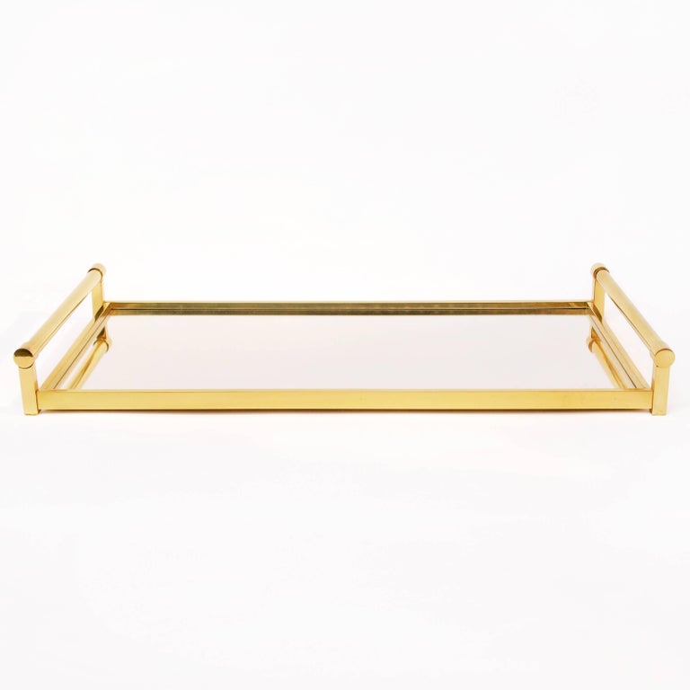Mid-Century Modern Very Large Brass Drinks Serving Tray by Jacques Adnet For Sale