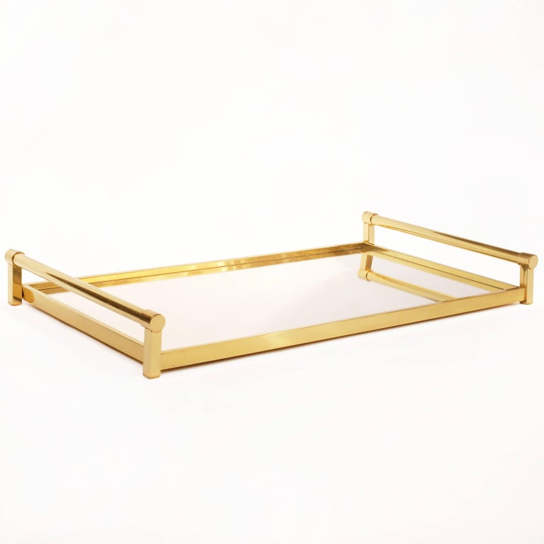 Very Large Brass Drinks Serving Tray by Jacques Adnet For Sale 3
