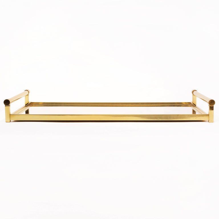 Very Large Brass Drinks Serving Tray by Jacques Adnet For Sale 1